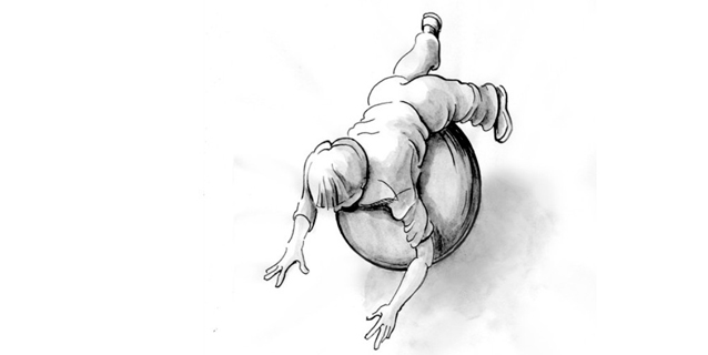 Illustration of a boy rolling over a ball on his stomach