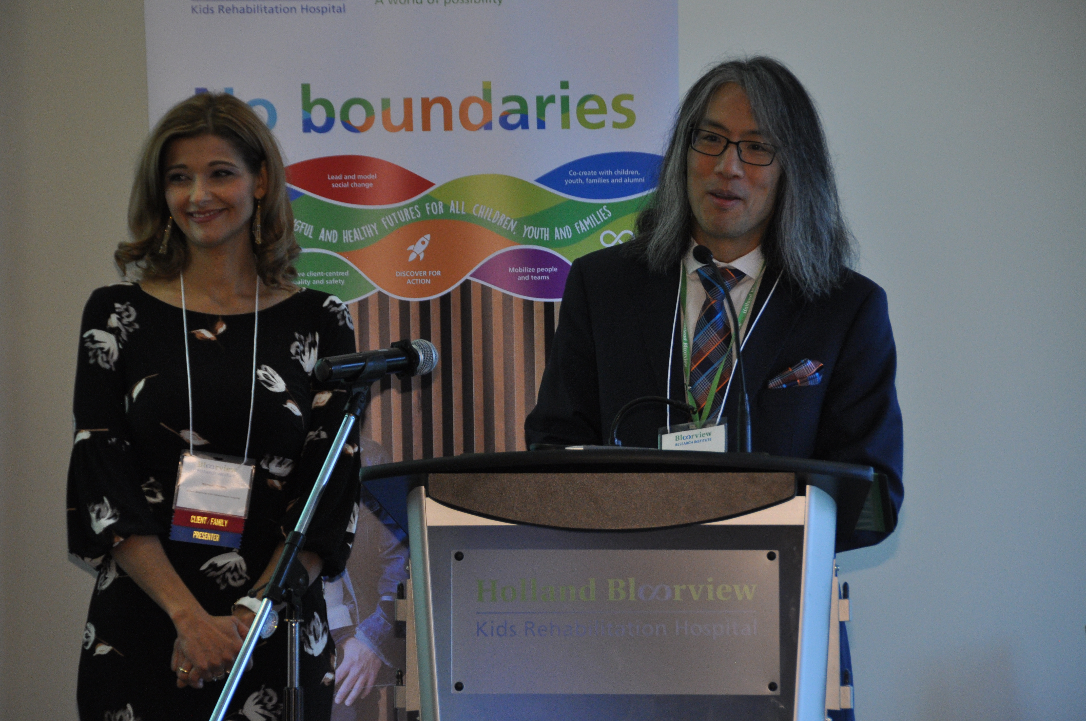 Manuela Comito, family leader, Holland Bloorview; and Tom Chau, vice-president of research at Holland Bloorview co-host the event
