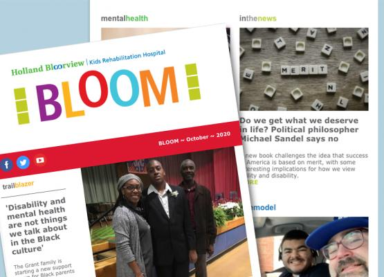 A collage of newsletter stories and images