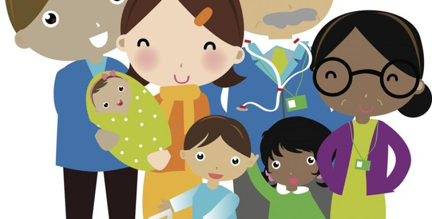 Family Resource Centre logo image - diverse community members gathered together