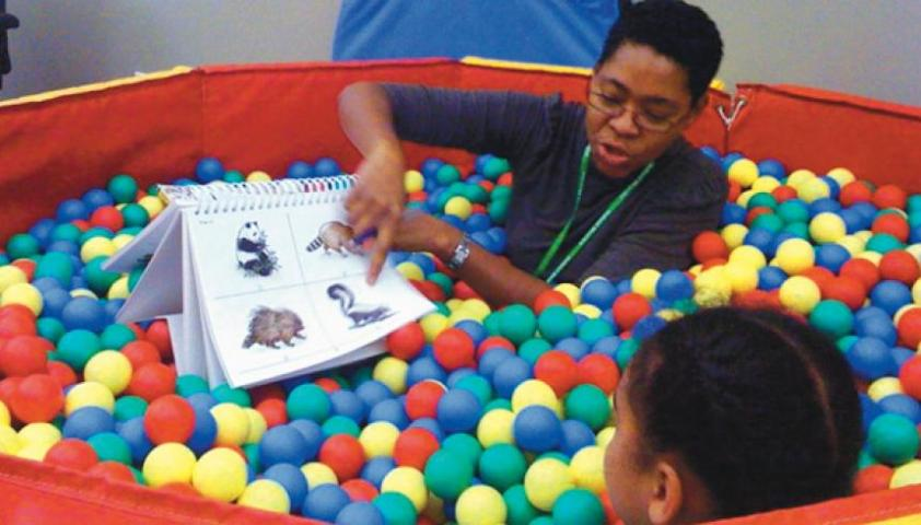 Ballpit in playroom