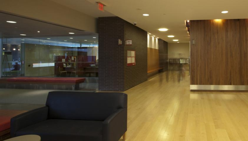 The main elevators are located beside the admissions office