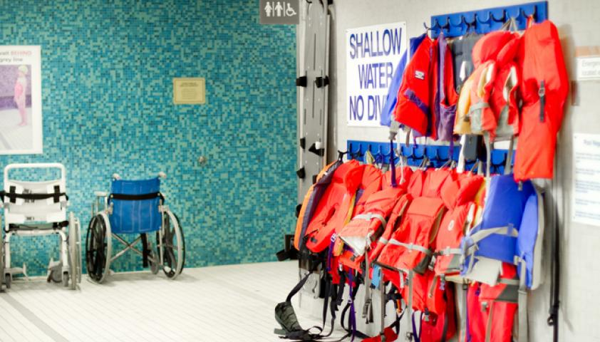 All change rooms open to the shallow end of the pool