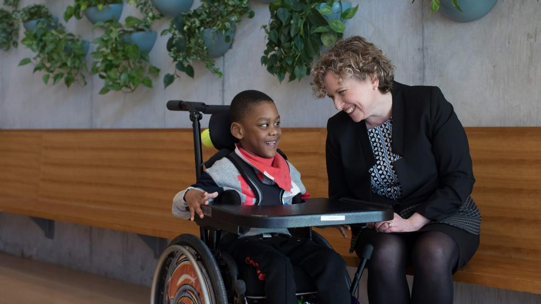 Julia Hanigsberg, president and CEO of Holland Bloorview Kids Rehabilitation Hospital with client